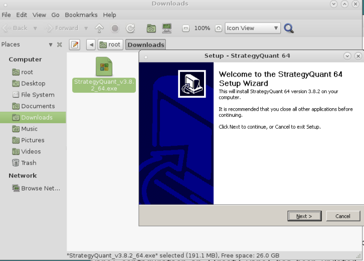 Installing StrategyQuant under Linux | Quastic